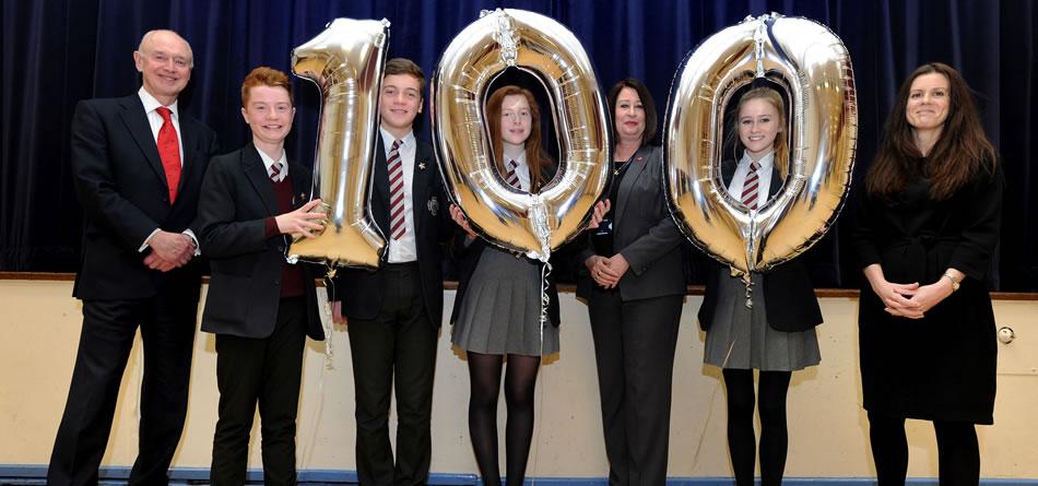 Left to Right Edwin Booth LEP, Sam Soper, Ben Compton,Dora Green, Headteacher Jane Green,Emma Field, Clare Hutchinson, C&E company